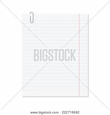 Vector realistic paper sheet blue lined with metallic paper clip. Single blank school copybook or notepad page with red margin. Template.