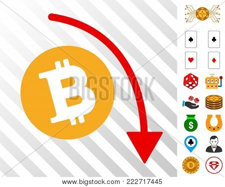 Bitcoin Fall Down Trend icon with bonus gambling symbols. Vector illustration style is flat iconic symbols. Designed for casino software.