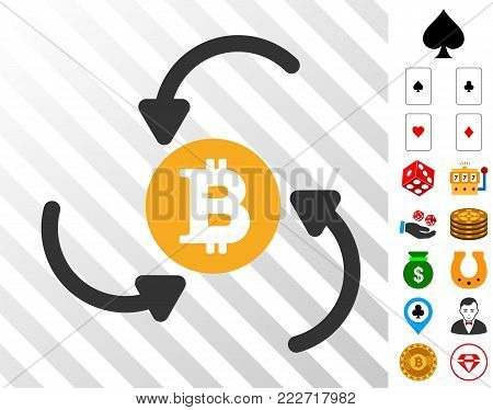 Bitcoin Income Swirl pictograph with bonus casino graphic icons. Vector illustration style is flat iconic symbols. Designed for gamble ui.
