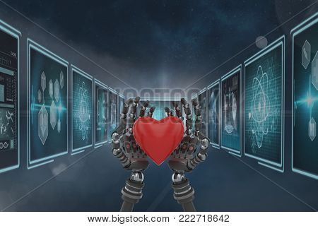 Digital composite of 3D robot hands holding a heart against background with medical interfaces