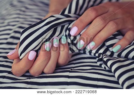 Gentle summer manicure . Design of nails. Natural nails, gel polish. Stylish Nails, Nailpolish.