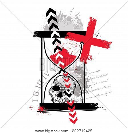 Vector illustration with dotted skull, cross, abstract arrows, hourglass and blots in red and black isolated. Sketch for tattoo in Trash Polka and dotwork style. Creative trash design for tattoo.