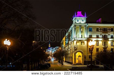 night city Minsk, Belarus, 01.13.2018, historical building in the city center, st. Communist, urban architecture, editorial