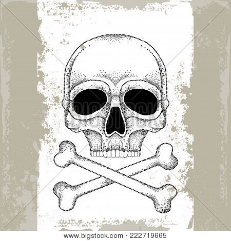 Vector dotted skull and crossbones in black on the white background. Front view. Element for Halloween design in dotwork style. Creative concept for tattooing and trash decor.