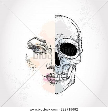 Vector dotted half beautiful woman face and skull on the pastel blots background. Concept of duality in dotwork style.