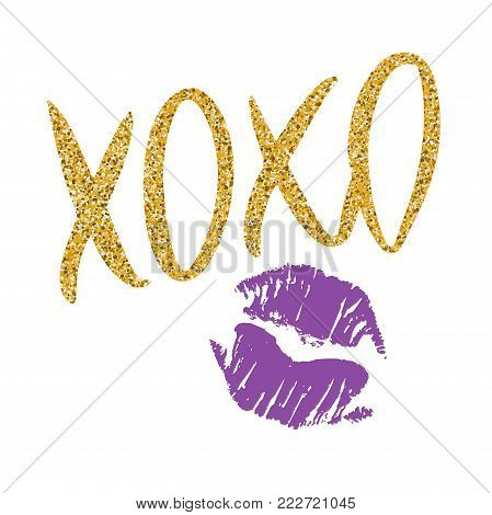 Romantic poster with handdrawn lettering. Modern ink calligraphy. Handwritten gold glitter phrase XOXO and ultraviolet lipstick kiss isolated on white. Vector design for Valentines Day or wedding