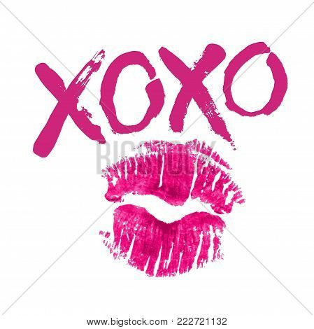 Romantic poster with handdrawn lettering. Modern ink calligraphy. Handwritten fuchsia phrase XOXO and realistic lipstick imprint isolated on white. Trendy vector design for Valentines Day or wedding