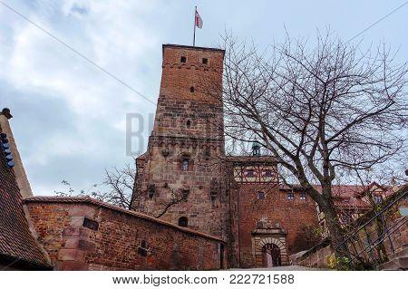Tower of the medieval Bavarian Nuremberg Castle in Franconia, Bavaria state, Germany