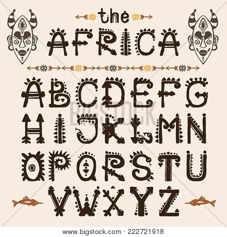 Hand drawn pattern with Tribal font typeface and mask ethnic . Capital Letters for your design, wallaper, textile, print. African culture. Fabric afro ornament. Coloful batik art. Type script
