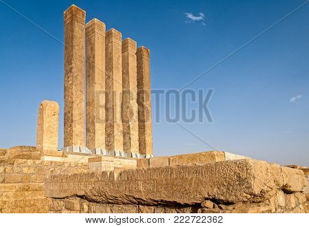MARIB, YEMEN - MAY 6, 2007: Ruins of ancient temple in an archaeological site on May 6, 2007 in Marib, Yemen. Among other arabic countries, in 2012 Yemen became a site of civil conflicts, which still continue.