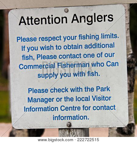 An Attention Anglers Please Respect Your Limits sign.