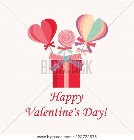 Happy Valentine's Day pink banner. Side view of the composition with a lollipop, gift box and confetti. Vector illustration.
