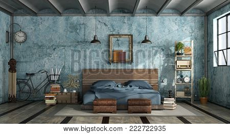 Master bedroom in industrial style with old blue wall - 3d rendering