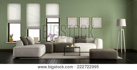 Green modern living room with sofa and windows - 3d rendering