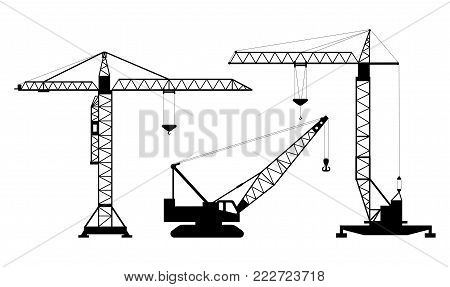 Set of isolated silhouettes of hoisting cranes on white background. Collection of lifting cranes