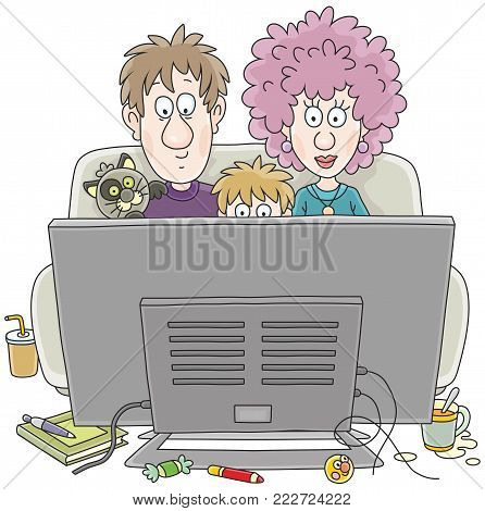 TV viewers. A funny family sitting on their sofa and watching TV, a vector illustration in cartoon style
