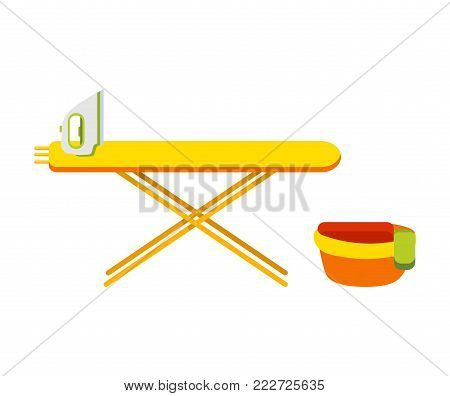 Ironing board with iron. Basin with things next to the board. Bowl with wash clothes. Flat iron board. Modern iron. Flat vector illustration. Isolated on white background.