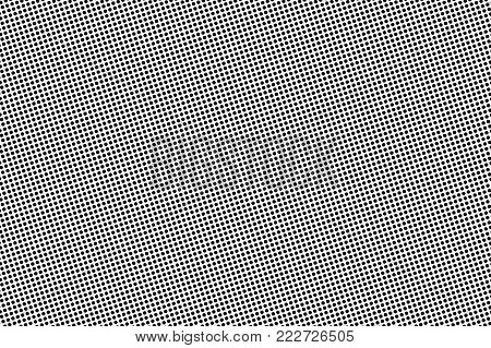 Black and white dotted halftone. Half tone vector background. Regular frequent dotted pattern. Abstract monochrome template. Black ink dots on transparent backdrop. Pop art dotwork. Retro design