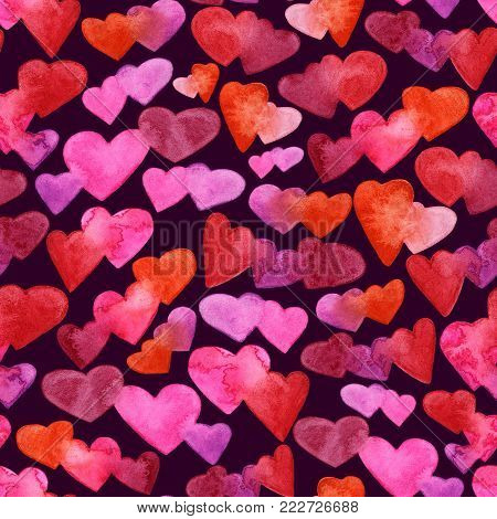 Seamless pattern with red, pink and violet watercolor hearts. romantic design. Isolated on dark background. Hand painted brush elements. Modern and teen. Love sign. Valintine Day texture