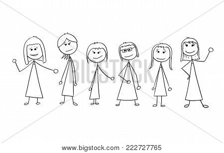 Cartoon stick man drawing illustration of crowd of six business people, women, businesswomen standing and posing.
