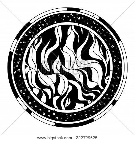 Zendala. Zentangle. Hand drawn circle mandala with abstract patterns on isolation background. Design for spiritual relaxation for adults. Line art creation. Black and white illustration for coloring.