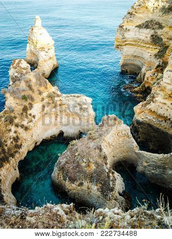 Limestone formations on the coast of Algarve at Lagos, Portugal.