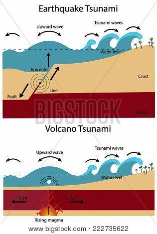 Establishment of Tsunami. Earthquake Tsunami and Volcano Tsunami