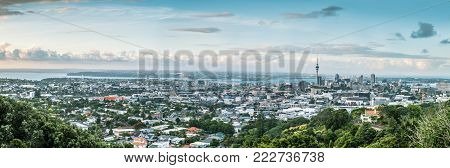 Panorama of Auckland City and Auckland Harbour from Mount Eden