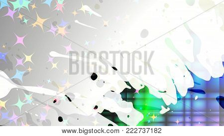 Wide format abstract grunge background. Vector EPS10 with mesh gradient and transparency. Place for text. Paint splashes. Background for funky card, flyer party. Full HD 4K grunge wallpaper.