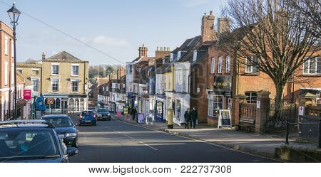 LYMINGTON, NEW FOREST, HAMPSHIRE, UK, JANUARY 2018 - View of the High Street in the town of Lymington, New Forest, Hampshire, UK