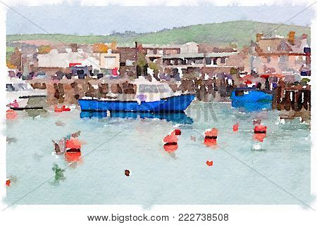 Digital watercolor painting of quaint fishing boats at anchor in a harbor with buildings and a green hill in the background with space for text.