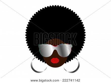 portrait African Women , dark skin female face with hair afro and metal glasses in traditional ethnic curly hair on isolated background , hairstyle concept
