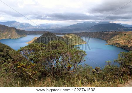 Cuicocha crater lake at the foot of the Cotacachi volcano in the Andes, Ecuador