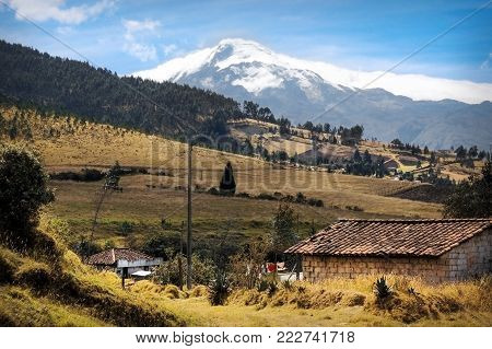 Landscape of Ecuador overlooking the 4939 meter high Cotacachi volcano