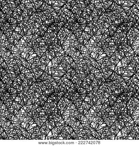 Monochrome black and white ink splash spot drip seamless pattern texture background vector.