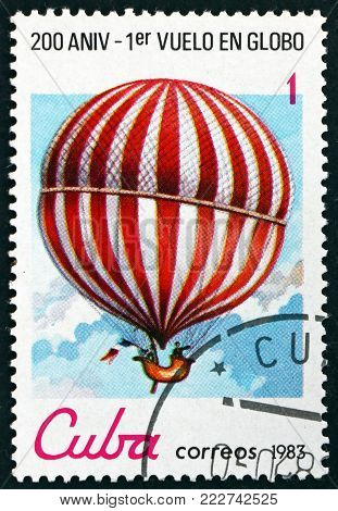 CUBA - CIRCA 1983: a stamp printed in Cuba shows balloon in flight, bicentennial of the 1st manned balloon flight, circa 1983