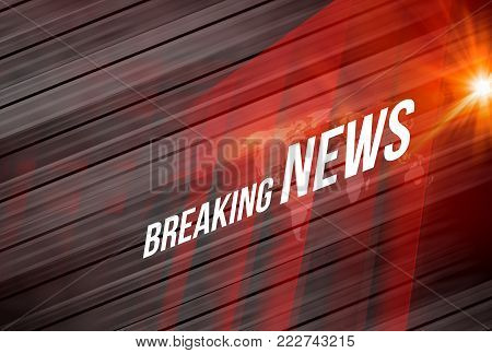 Graphical Breaking News Background Red Theme Background with White Breaking News text and lens flare at right edge.