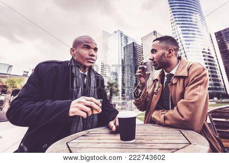 Black businessmen in La Defense finance district, Paris