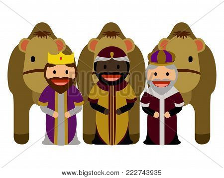 Three wise men with camels on a white background, Vector illustration