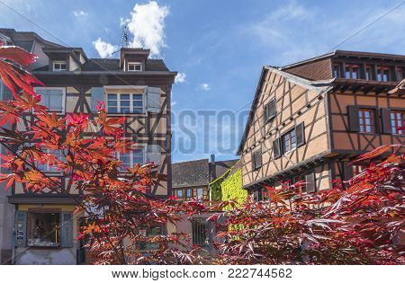 Colmar, France - May 2017: Houses In Little Venice Quarter On A Sunny Day