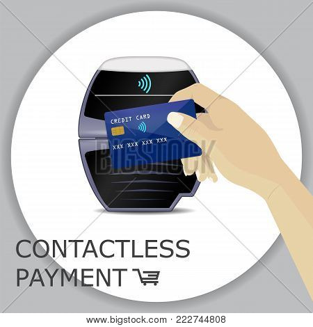 Pos Terminal With Hand And Credit Card. Contactless Payment, Approved. Near-field Communication Prot