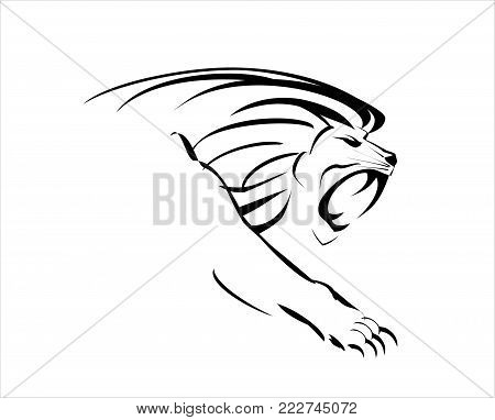 Lion head. Roaring Fang face. crawling lion on white background.