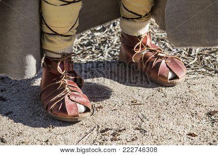 Footwear used by pre-romans inhabitans of iberian peninsula. Reenactment of Iberian Goddess Ataecina ritual