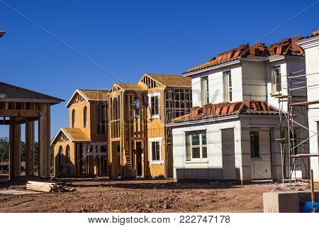 Row Of Two Story Homes Under Construction