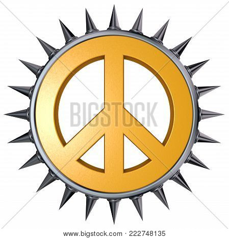 peace symbol with spikes on white background - 3d rendering