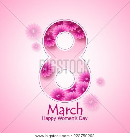 March 8 happy women's day vector banner design with flowers elements and text in pink background for international women's day celebration. Vector illustration.