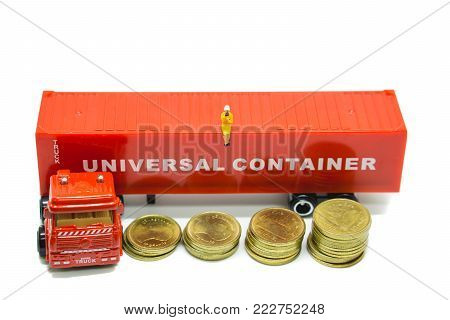 Miniature People, Business Woman Sitting On Trailor Container And Stack Coins