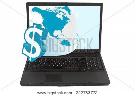 Laptop with currency symbols, isolated on white background.