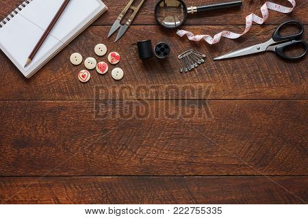 Top View Aerial Image Fashion Designer Background Concept.flat Lay Sewing Accessory Or Tailor Tool W
