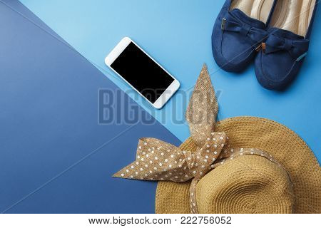 Table Top View Accessory Of Clothing Women  Plan To Travel In Holiday Background Concept.mobile Phon
